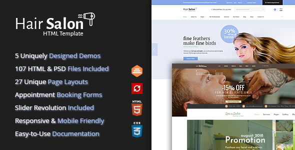 Hair Salon HTML Template for Barber Shops & Beauty Salons