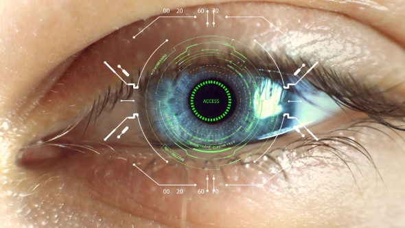 Biometric Retina Scanner  Eye Scanning Access Futuristic Graphical Human, Vision and Control