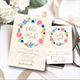 Floral Wreath Wedding Invitation + RSVP - GraphicRiver Item for Sale