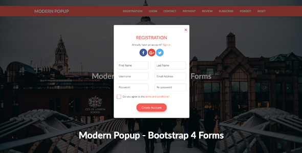 Modern Popup - Bootstrap 4 Forms