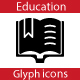 Education Glyph Flat icons - GraphicRiver Item for Sale