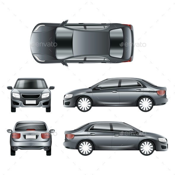 Color Car Sedan in Different Point of Views Vector