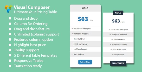 Malkoo Pricing Table Addon For Visual Composer
