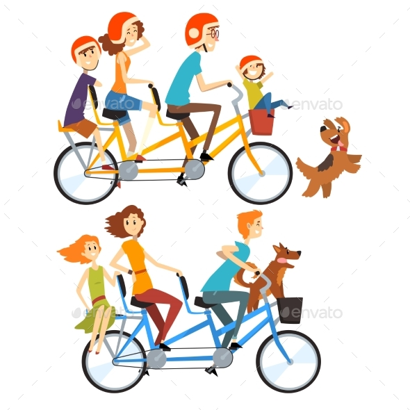 Two Happy Families Riding on Tandem Bicycles