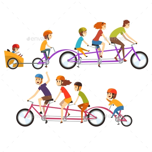 Illustration of Two Happy Families Riding on Big