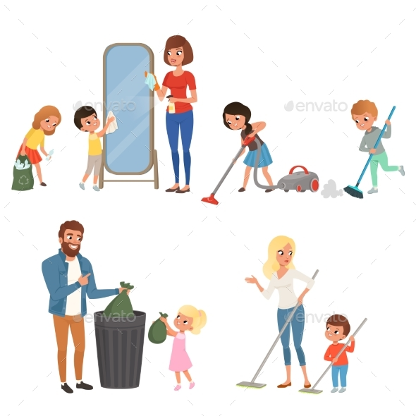 Children Helping Their Parents with Housework