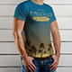 9 Mockup of a White T-Shirt on a Man on a Wooden Background - GraphicRiver Item for Sale