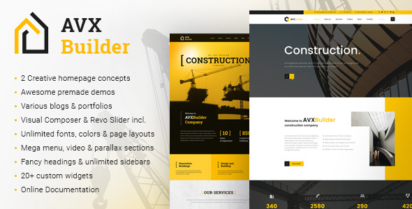 AVXBuilder - Construction Business WordPress Theme