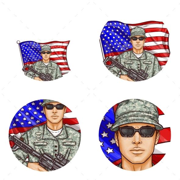 Vector US Flag Soldier Pop Art Avatar Icons