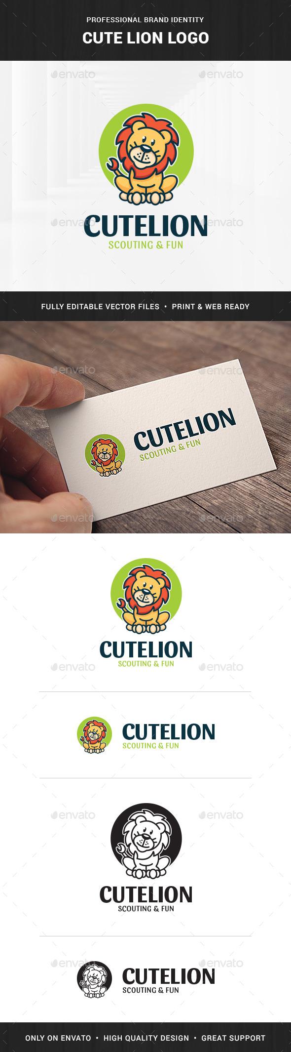 Cute Lion Logo Template
