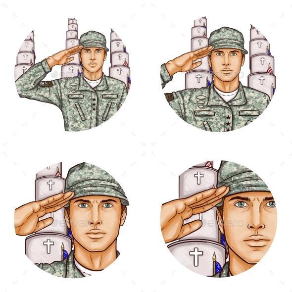Vector Cemetery Salute Soldier Pop Art Avatar Icon