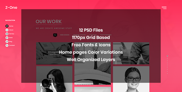 Download Z-One – Portfolio Fullpage PSD Template Nulled