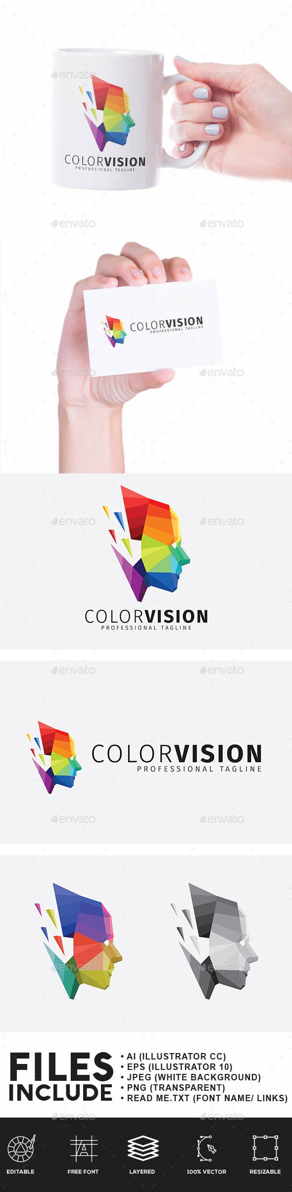 Color Vision Low Poly Logo