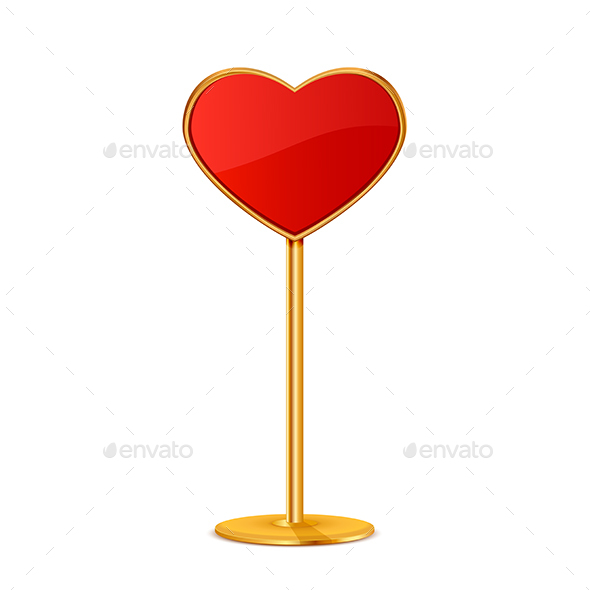 Red Valentines Sign in the Form of Heart