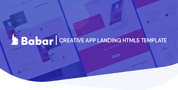 Babar - Multipurpose Responsive App / One page Template