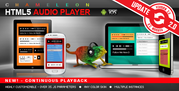 Chameleon HTML5 Audio Player z / bez listy odtwarzania