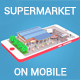 Low Poly Supermarket on Phone screen - 3DOcean Item for Sale