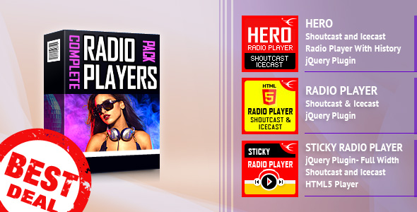 ShoutCast and IceCast HTML5 Radio Players Bundle Download