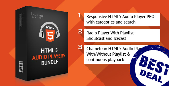 HTML5 Responsive Audio Players Bundle