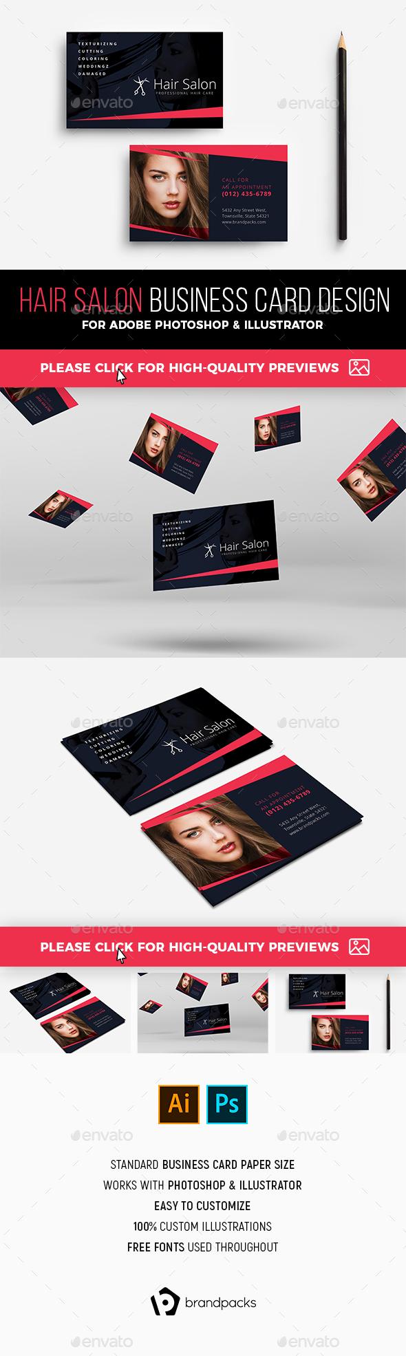 Hair Salon Business Card Graphics, Designs & Templates