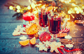 Christmas traditional mulled wine on holiday decorated table - PhotoDune Item for Sale