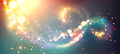 Christmas background. Golden glittering stars swirls over black - PhotoDune Item for Sale