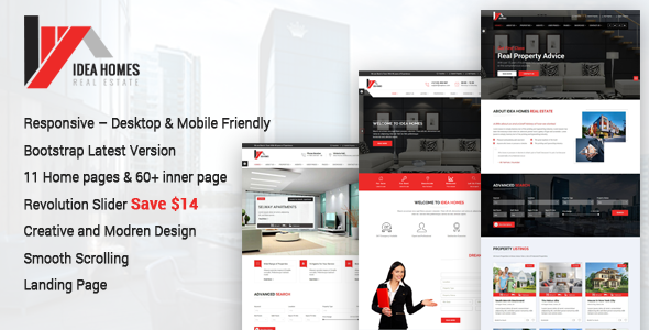 Idea homes - Real Estate Bootstrap Template