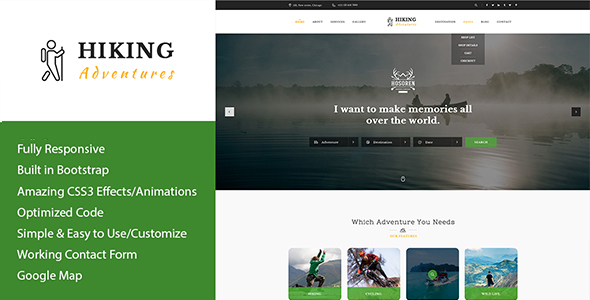 Hiking Adventures - Outdoors HTML Template