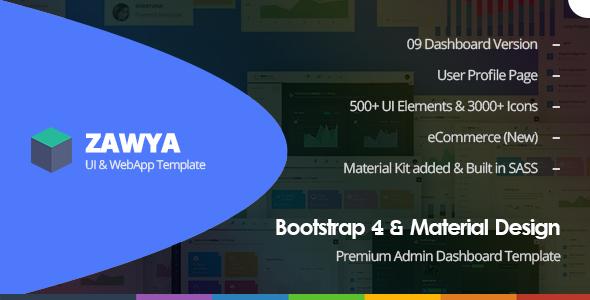 Zawya - Bootstrap 4 & Material Design Premium Admin Dashboard Template