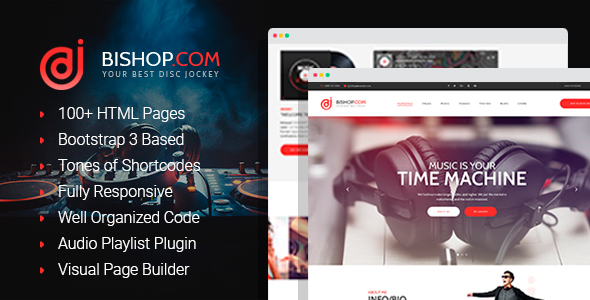 Bishop - Dj Personal Page HTML Template with Visual Builder
