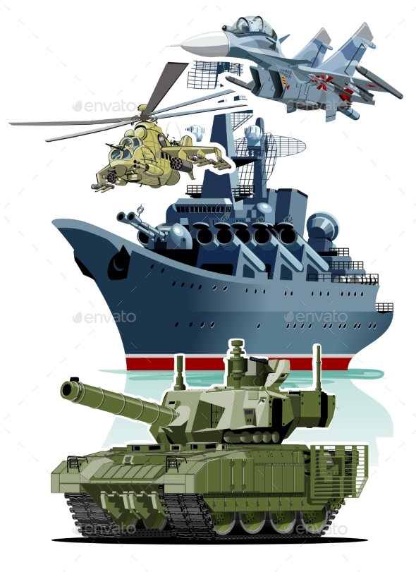 Set of Cartoon Military Equipment