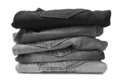 Stack of black jeans isolated on white - PhotoDune Item for Sale