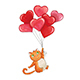Sketch Cat with Balloons - GraphicRiver Item for Sale