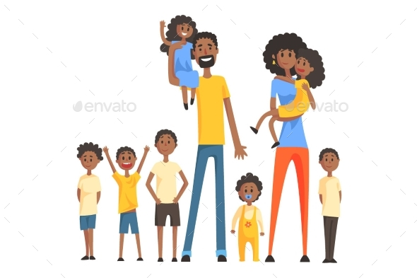 Happy Black Family With Many Children Portrait All