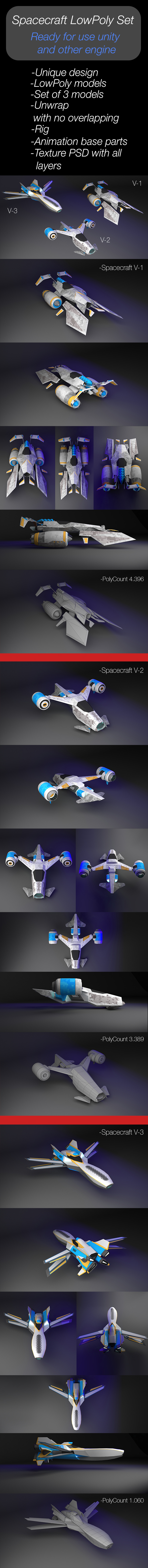 Spacecraft LowPoly Set of 3 momels