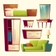 Vector Bedroom Living Room Interior Cartoon Object - GraphicRiver Item for Sale