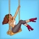 Vector Pop Art Girl on Swing with Headphones - GraphicRiver Item for Sale