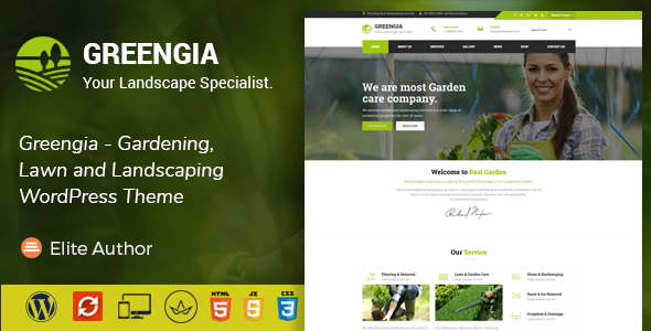 Greengia - Gardening, Lawn and Landscaping WordPress Theme