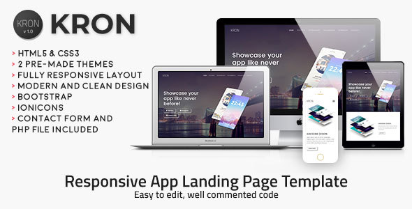 Kron | Responsive HTML/CSS App Landing Page Template