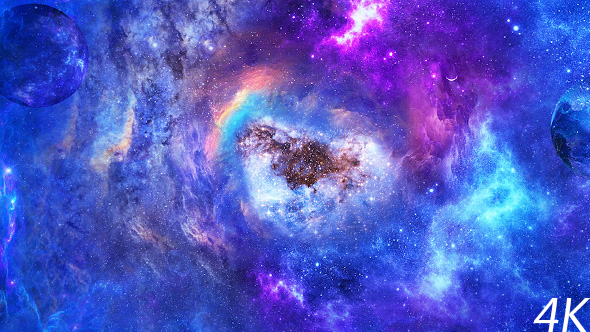 Flying Through Abstract Space Nebulae with Planets and Energy Flare