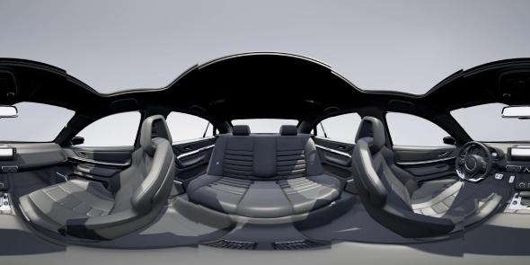 VR 360 Camera Moving Inside Detailed Car Interior