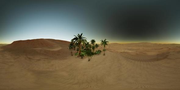 VR 360 Camera Moving Above Desert