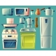 Vector Cartoon Set of Kitchen Appliances - GraphicRiver Item for Sale