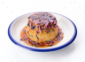 homemade egg flan decorated with colors
