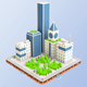 Low Poly City Block Skyscraper Buildings