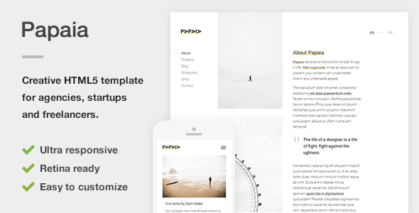 Papaia - Creative HTML5 Site Template for Agencies, Startups & Freelancers