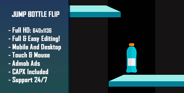 Jump Bottle Flip - HTML5 Game + Mobile Version! (Construct-2 CAPX) Download