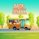 Vector Cartoon Kids Back to School on Yellow Bus - GraphicRiver Item for Sale