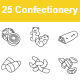 Confectionery Outlines Vector Icons - GraphicRiver Item for Sale