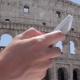 Hand Young Caucasian Woman Tourist Texting on Beautiful View of European Ancient City with Mobile - VideoHive Item for Sale